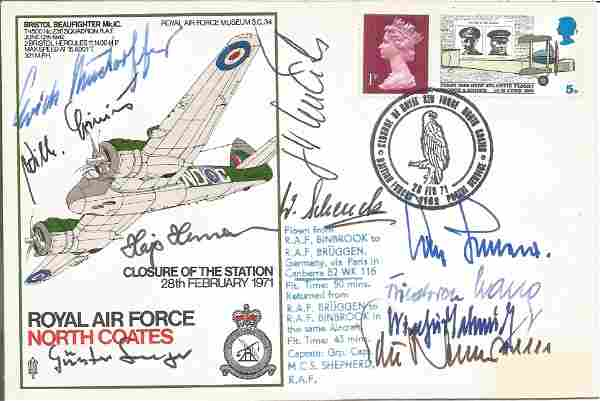 WW2 Luftwaffe aces multiple signed cover. Ten inc