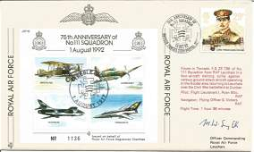 WW2 fighter ace signed RAF cover. 75th Anniversary of