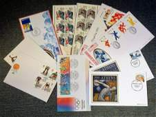 Olympic Games UNSIGNED FDC collection 10 fantastic