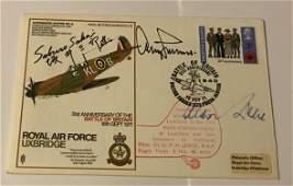 WW2 Aces multiple signed SC30 RAF Uxbridge Spitfire