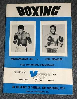 Muhammad Ali v Joe Frazier signed 1975 boxing programme