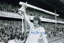 Autographed MIKE CHANNON 12 x 8 photo - B/W, depicting