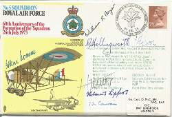WW2, Great War pilots multiple signed 5 Sqn RAF cover.