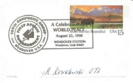 WW2 Luftwaffe ace Robert Kowalewski signed US postcard.
