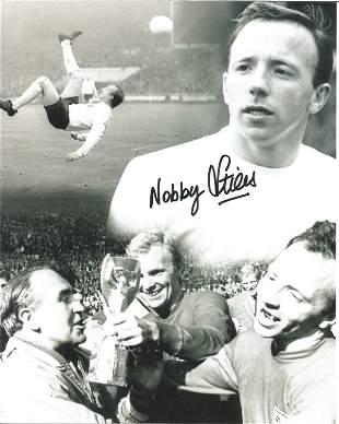 Football Nobby Stiles signed 10x8 black and white