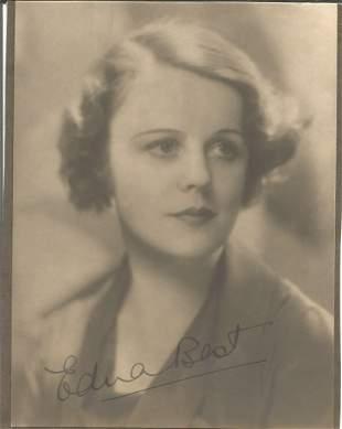 Edna Best signed vintage 7 x 5 inch b/w portrait photo.