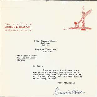 Ursula Bloom 1958 typed signed letter TLS, one her own