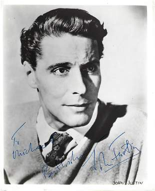 John Justin Signed photo black and white 10 x 8 inch.