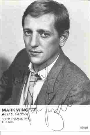 Mark Wingett signed 6 x 4 inch b/w portrait photo from