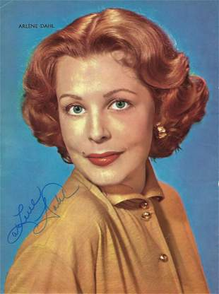 Arlene Dahl Signed photo page from annual colour 10. 5