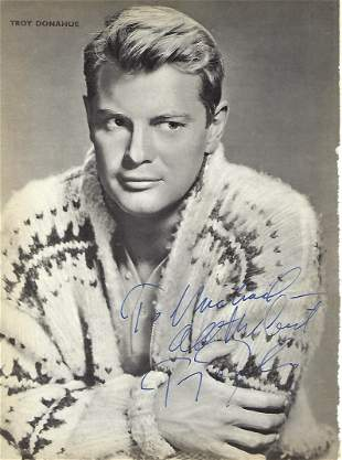 Troy Donahue Signed photo page from annual black and