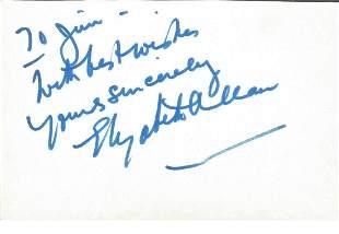 Elizabeth Allen signed album page. Good Condition. All