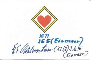 Karl F. Schlossstein WWII German Ace signed 6 x 4 white