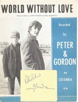 Peter & Gordon Singers Signed Album Page With Vintage