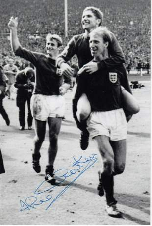 Autographed England 6 X 4 Photo - Jack Charlton : B/W,