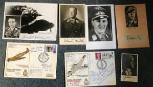 WW2 Luftwaffe aces signed photograph and cover