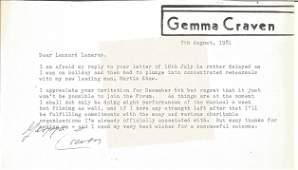 Gemma Craven TLS typed signed Letter dated 7/8/1981.