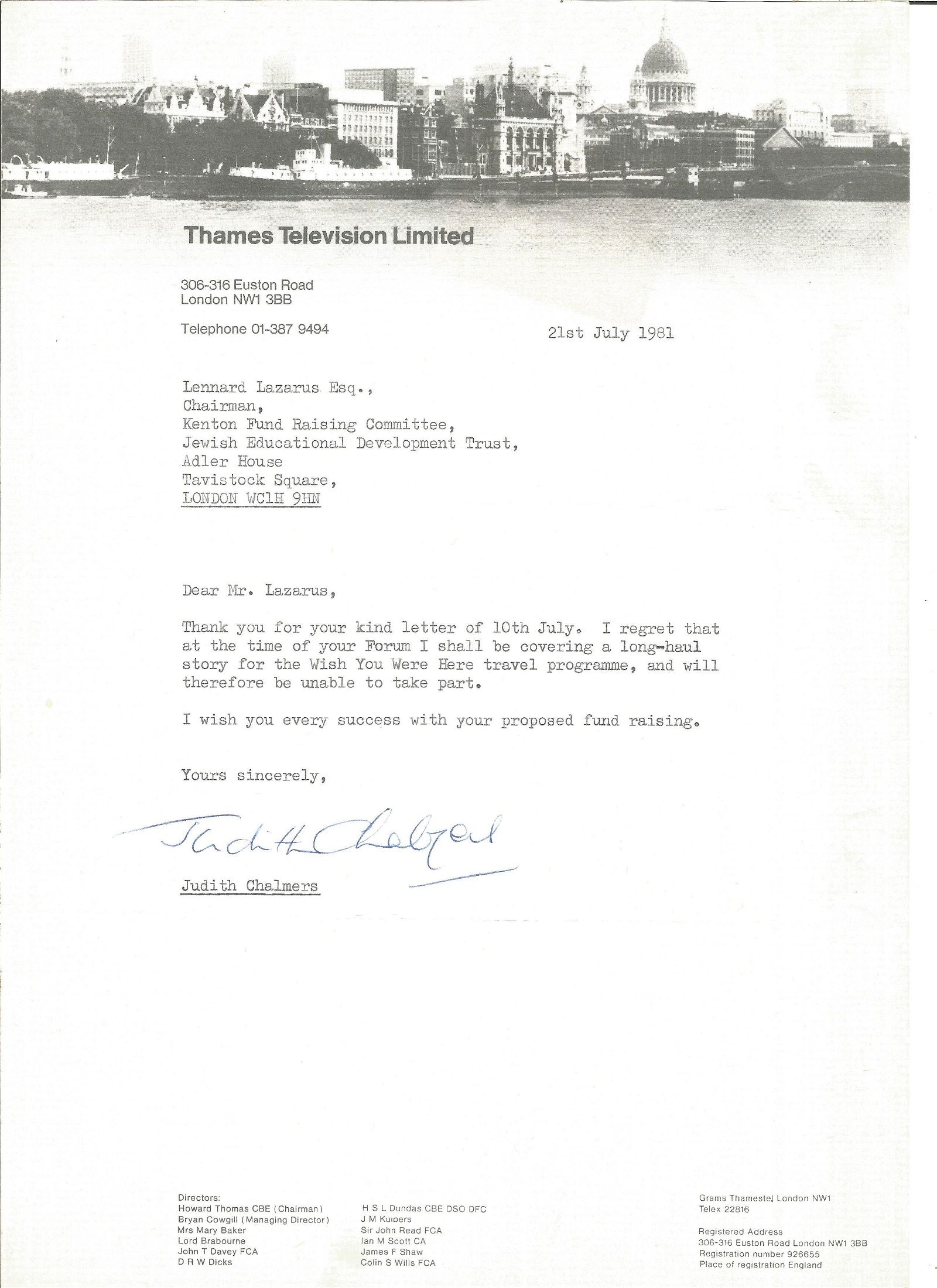 Judith Chalmers TLS typed signed letter dated 21/7/81.