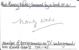 WW2 resistance heroine Nancy Wake signed white card.