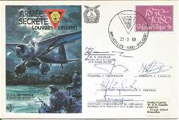 Secret Army RAF Escaping Society cover signed by five