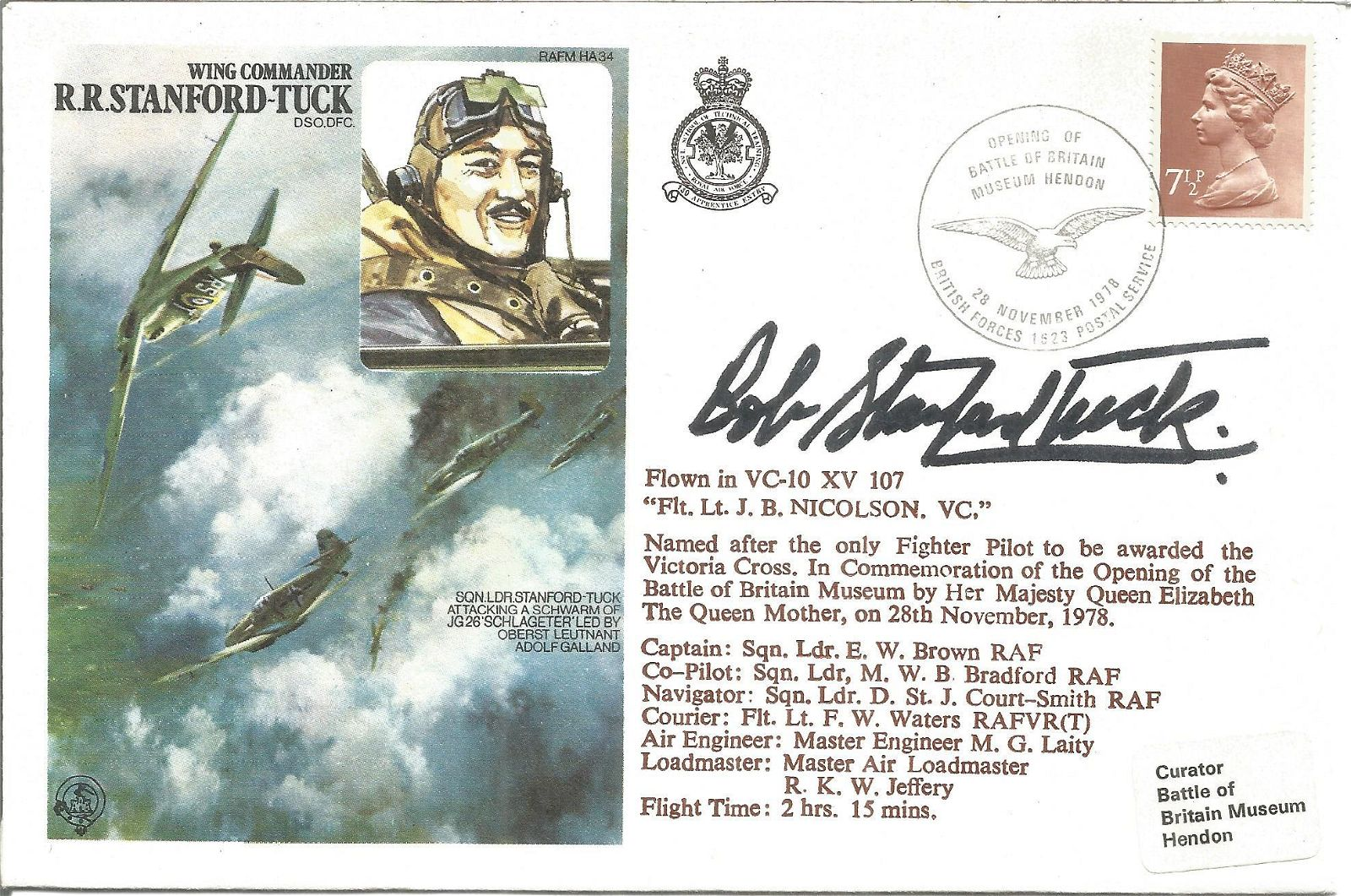 WW2 fighter ace Robert Stanford Tuck DSO DFC signed on