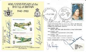 Five top Battle of Britain aces signed 40th ann cover.