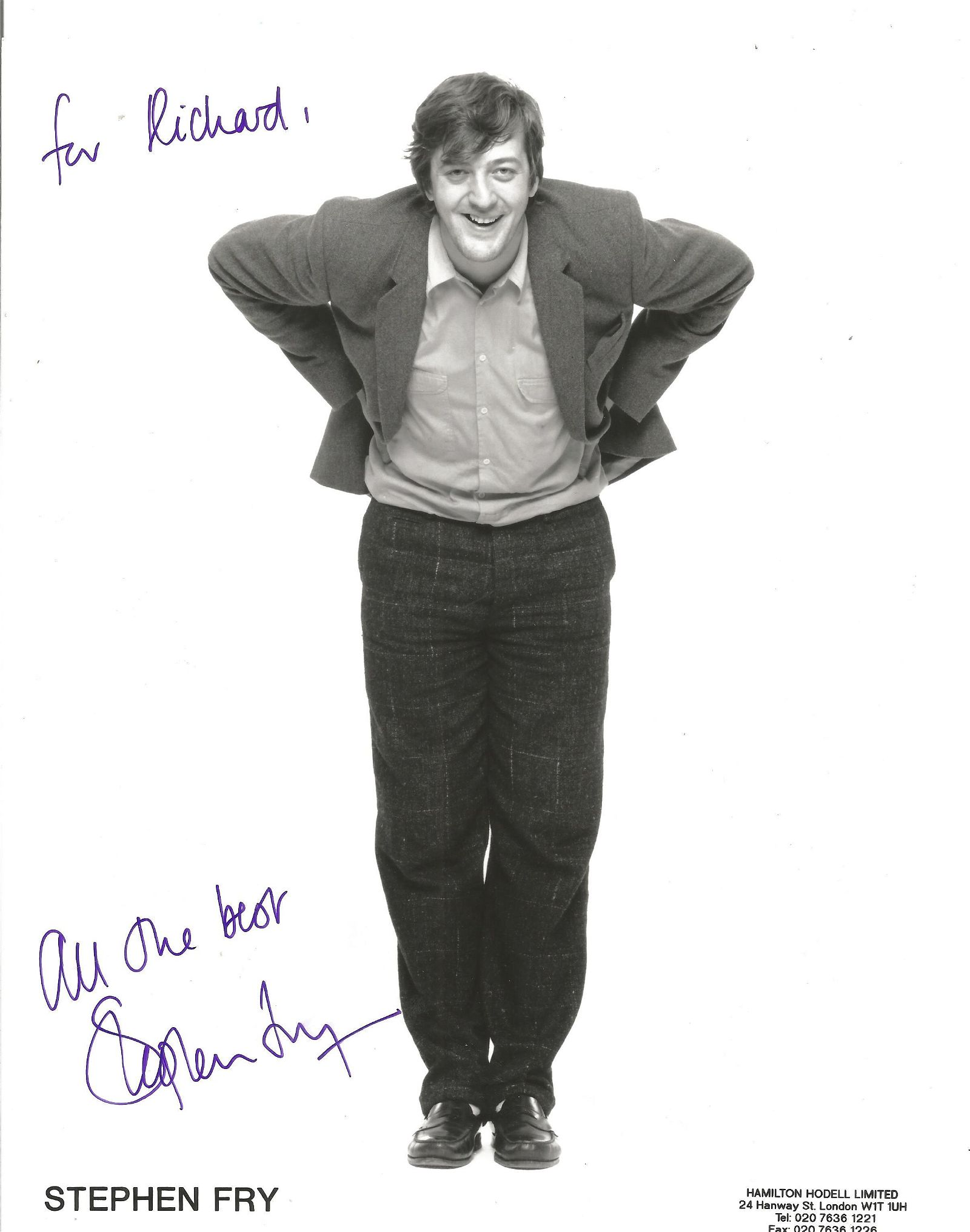 Stephen Fry Signed 10x8 Colour Photo. Dedicated. Good