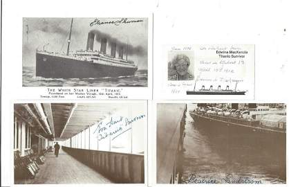Titanic signed collection. 4 items mainly postcards