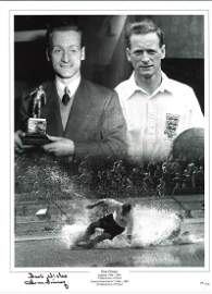 Tom Finney Preston Signed 16 x 12 inch football photo.