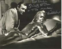 Shirley Eaton signed 10 x 8 inch b/w photo covered in