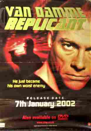 Replicant 2001 movie poster starring Jean Claude Van
