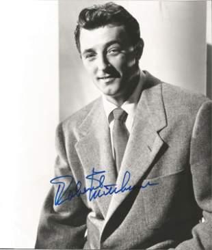 Robert Mitchum signed 10 x 8 inch b/w early portrait