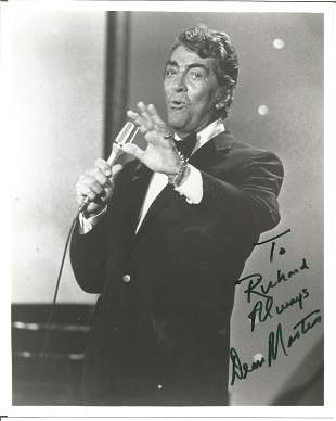 Dean Martin signed 10 x 8 inch b/w portrait photo, to