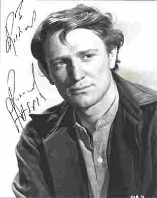 Richard Harris signed 10 x 8 inch b/w early portrait