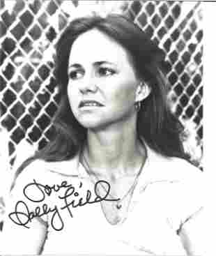Sally Field signed 10 x 8 inch b/w early portrait