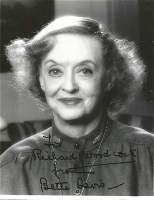Bette Davis signed 10 x 8 inch b/w early portrait