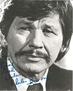Charles Bronson signed 10 x 8 inch b/w early portrait