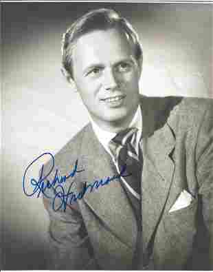 Richard Widmark signed 10 x 8 inch b/w early portrait