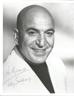 Telly Savalas signed 10 x 8 inch b/w early Kojak era