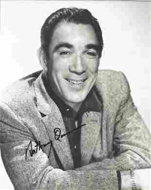Anthony Quinn signed 10 x 8 inch b/w portrait photo.