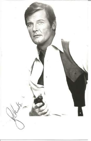 Roger Moore signed 6 x 4 inch b/w photo as James Bond.