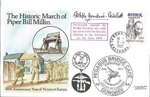 WW2 D-day Arlette Gondree signed Historic March of