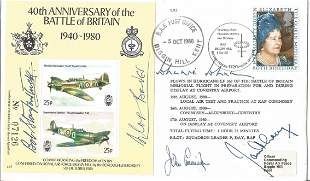 WW2 Top Five Battle of Britain aces signed 40th ann BOB