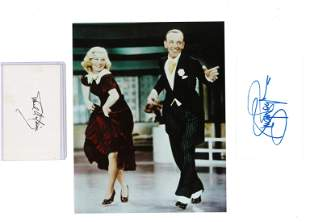 Fred Astaire and Ginger Rogers signed white cards with