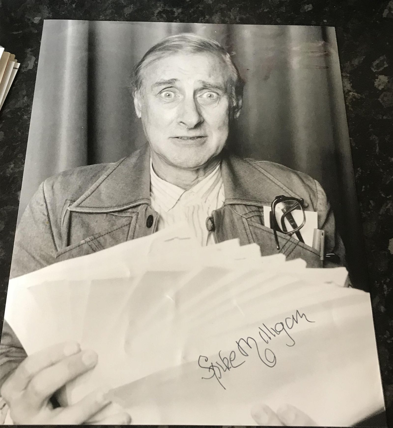 Spike Milligan signed 10 x 8 inch b/w photo. Condition