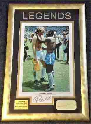 Football Legends Pele and Bobby Moore 28x19 framed and