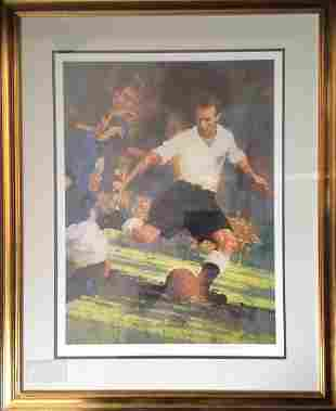 Football Sir Stanley Mathews 35x28 framed and mounted