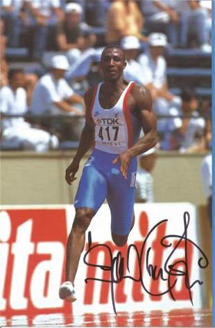 Athletics Linford Christie signed 12x8 colour magazine