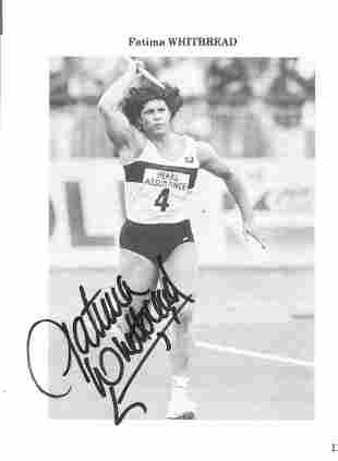 Athletics Fatima Whitbread signed 6x5 black and white