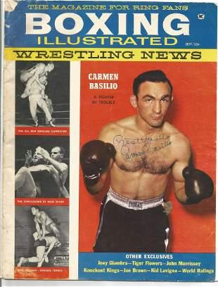Boxing Carmen Basilio signed Boxing Illustrated vintage